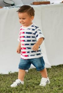 toddler in red white and blue